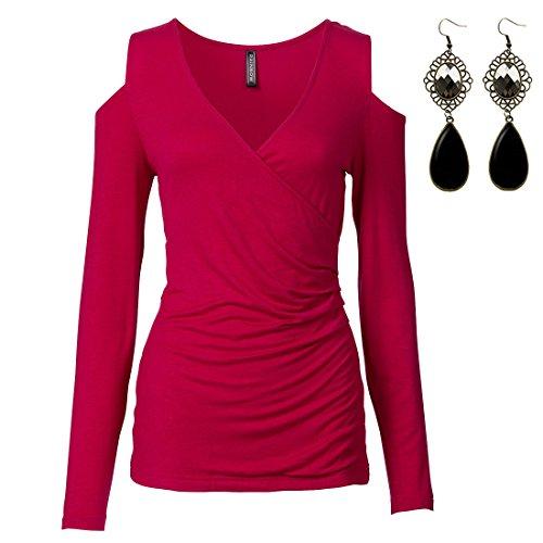 M-Queen Mujeres Camisetas de Manga Larga Atractivo sin Hombro V-escote T shirt Blusas Camisas Sweatshirt Tops Rojo