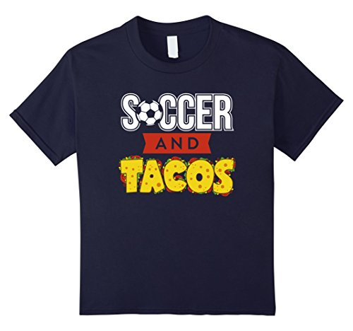 unisex-child Soccer and Tacos Shirt Funny Favorite Sport & Food Tshirt 12 Navy