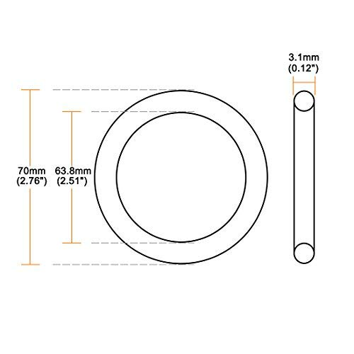 Outer Diameter of 70 mm Round Seal Gasket Pack of 10 O-Rings Nitrile Rubber Width of 3.1 mm Internal Diameter of 63.8 mm