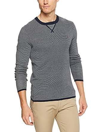 TOMMY HILFIGER Men's Fineliner Striped Crew Neck Sweater, Navy Blazer, Medium