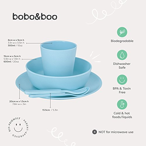 Bobo&Boo Bamboo 5 Piece Children's Dinnerware, Pacific Blue, Non Toxic & Eco Friendly Kids Mealtime Set for Healthy Infant Feeding, Great Gift for Baby Showers, Birthdays & Preschool Graduations by Bobo&boo (Image #6)