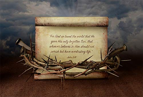 (AOFOTO 5x3ft Holy Bible Story Parchment Backdrop Crown Thorns Nails Vintage Paper Scripture Christ Child Jesus Birth Manuscript Background for Photography Christmas Cross Easter Photo Studio Props)