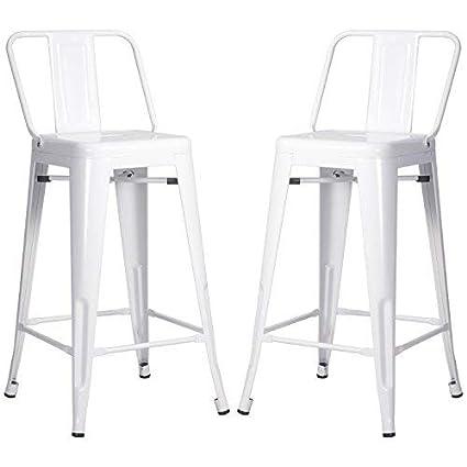 Amazoncom Merax Pp038358kaa Pp038358 Metal Bar Stools Cafe Chairs