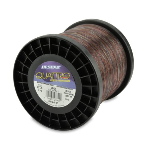 Line Monofilament Spool 1 Lb - Hi-Seas Quattro Monofilament Line, 4 Color Camouflage, 20 Pound Test, 1-Pound Spool