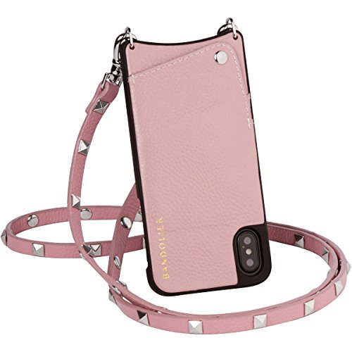 Bandolier [Sarah] Crossbody Phone Case and Wallet - Compatible with iPhone X & XS - Desert Rose Leather with Silver -