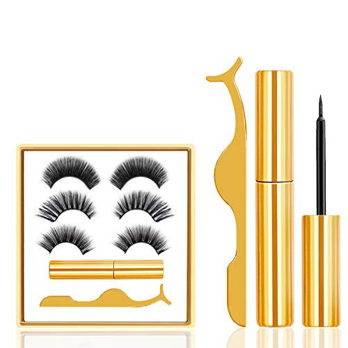 Magnetic Eyeliner and Lashes Kit 3 Pair, Magnetic Eyelashes Natural Look Waterproof Long Lasting Reusable, Eyelashes with Applicator Easier To Use, 3D Magnetic False Lashes Set