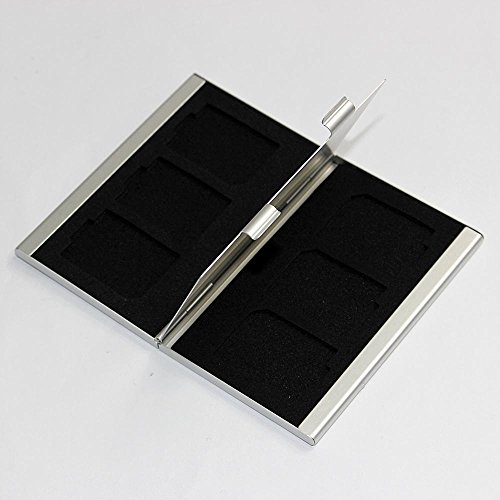 Merfet 6 Slots Aluminum Memory Card Storage Box Sd Card Case Holder Carrying Case For Sandisk Kingston Transcend Samsung Sd Micro Sd T Flash Card