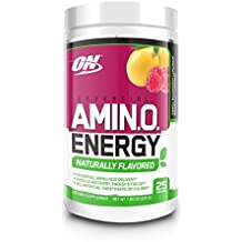 Optimum Nutrition Naturally Flavored Amino Energy, Simply Raspberry Lemonade, Preworkout and Essential Amino Acids with Green Tea and Green Coffee Extract, 25 Servings