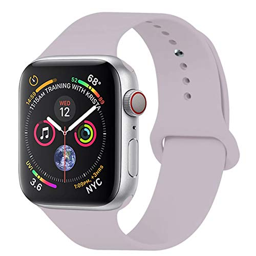 YANCH Compatible with for Apple Watch Band 38mm 40mm, Soft Silicone Sport Band Replacement Wrist Strap Compatible with for iWatch Nike+,Sport,Edition,S/M,Lavender