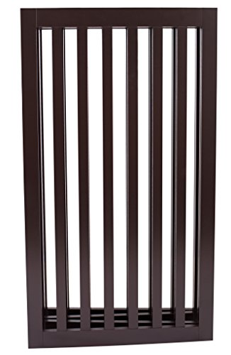 Internet's Best Traditional Pet Gate | 4 Panel | 36 Inch Tall Fence | Free Standing Folding Z Shape Indoor Doorway Hall Stairs Dog Puppy Gate | Fully Assembled | Espresso | Wooden by Internet's Best (Image #1)