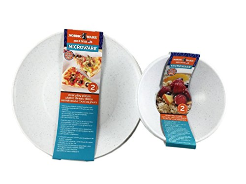 Microwave Safe Plates and Bowls 4 Piece Eco-Friendly Dinnerware (Microwave Plastic Plates)