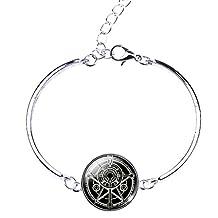Joyplancraft Amulet Bracelet Supernatural Hexagram Charm with Alloy Chain Blessing Bracelet