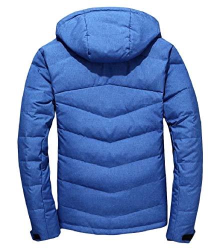 Blu Breve Cappuccio men Rimovibile Spesso Pesce Outwear Stile Giù Howme Palla wqgCU5