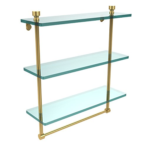 Polished Shelf Allied Brass - Allied Brass FT-5/16TB-PB Foxtrot Collection 16 Inch Triple Tiered Glass Shelf with Integrated Towel Bar, Polished Brass