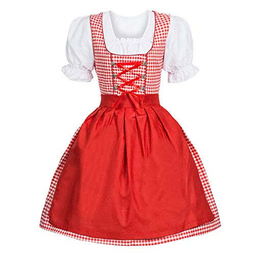 SUNNY Store Women Oktoberfest Costume Empire Ball Gown Collar Girl Drindl Tavern Maid Dress Red -