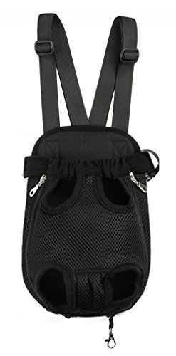Samia® Pet Dog Puppy Cat Carrier Five Holes Backpack Double Shoulder Straps Canvas Cotton Front Chest Backpack Bag(black, ()