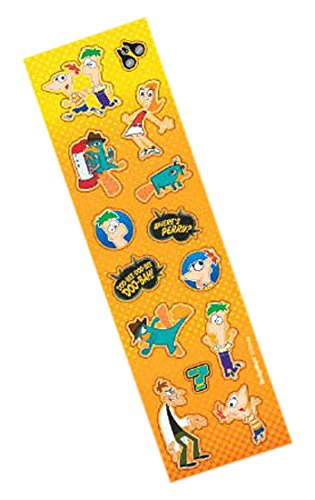 6 x 1 Pack of 8 6 x 1 Amscan 151156 Phineas and Ferb Party Sticker Strip Fun Pack Favours Paper