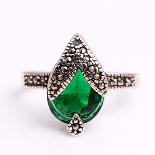 (GEM-Inside Rings Semi Sapphire Green Glass Faceted Antiqued Tibeten Silver Ring Earrings Pandant Set Fashion Jewelry for Women)