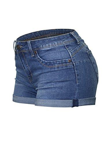 Cielo Women's Butt Lifting Denim Color Mini Shorts (Medium, SH-100 Med Blue ) (Butt Lifting Shorts)