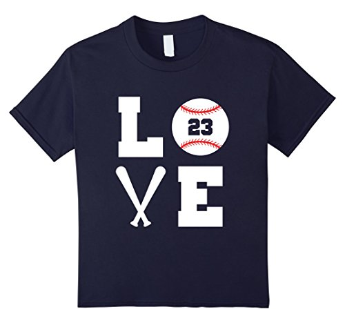 Love Baseball Player (unisex-child I Love Baseball Player Number #23 Gift Shirt 4 Navy)