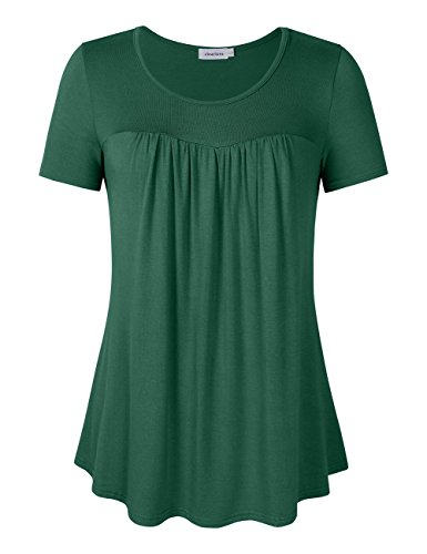 Clearlove Women's Tops and Blouses Ruched Front Scoop Neck Plus Size Pleated Tunic T Shirt Short Sleeve Green Large