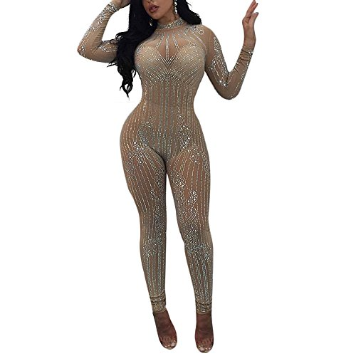 MS Mouse Women's Sexy See Through Mesh Bodysuit Party Bodycon Jumpsuit Romper S ()