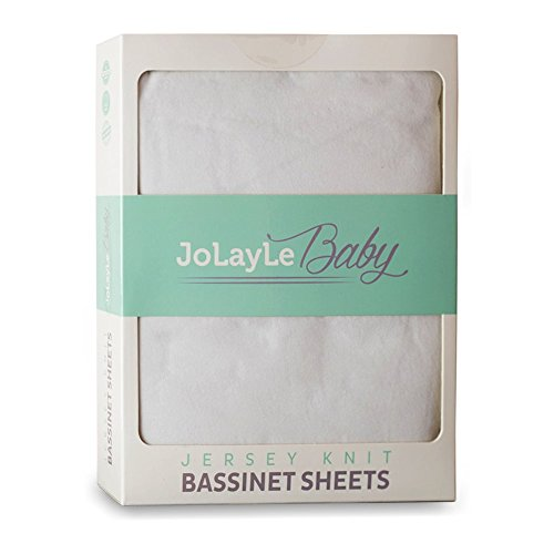 Bassinet Sheets 2 Pack - 100% Cotton Jersey Knit Fitted Oval Bassinet Sheet Set - Extra Soft Baby Bedding for Boys and Girls- Pure White Gender Neutral Sheet by JoLayLe (Oval Baby Cradle Bedding)