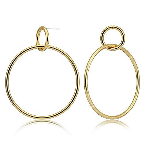 - Howoo Gold Hoop Dangling Earrings, Double Hoops Large Dangle Drop Earrings Big Circle Round Gold Filled Stainless Steel Stud Earrings for Women(40mm)