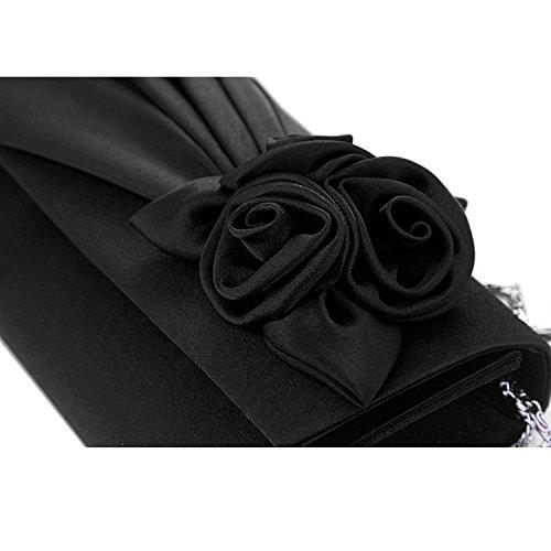 Gosear Fashion Rose Doblez del Bolso de Mano Para Partido Negro Negro