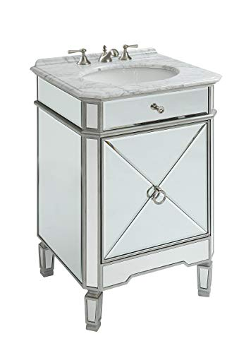 "24"" Mirrored reflection Antique Silver Asger powder room bathroom Vanity – BC-5026SL Review"