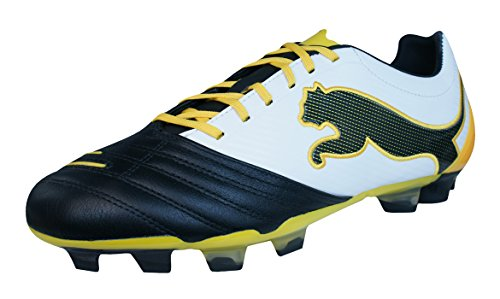(PUMA Powercat 2.12 FG Mens Leather Soccer Boots/Cleats-Black-10.5)