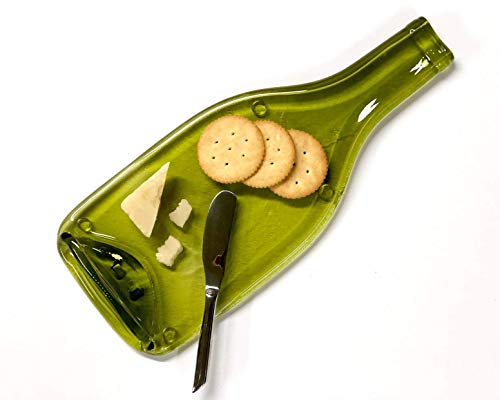 Wine Bottle Cheese Tray with Cheese Spreader, Large Spoon Rest from Flat Bottle ()