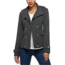 Zeagoo Women Button Up Wool Coat Double Breasted Military Short Jacket Outwear