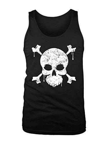 LOGOPOP Men's Dripping Skull and Crossbones Tank Top, L, Black