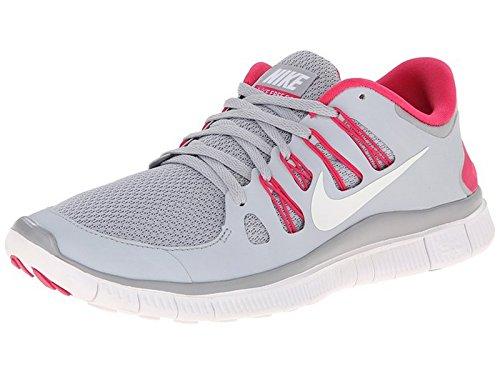 Nike Free 5.0+ Scarpe Da Corsa Da Donna 580591-061 Grigio Lupo / Rosa Forza-bianco (12 M)