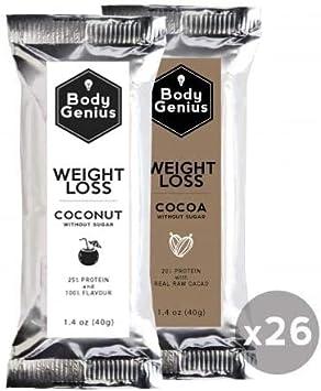 BODY GENIUS Dúo Weight Loss (Coconut + Cocoa). 40gx26 barritas. Altas en Proteína, Bajas en Hidratos y Sin Azúcar Añadido. Ideal para Deportistas. ...