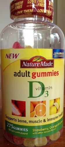 Nature Made vitamine D3 adultes Gummies - fraise, orange, citron et 275 Gummies