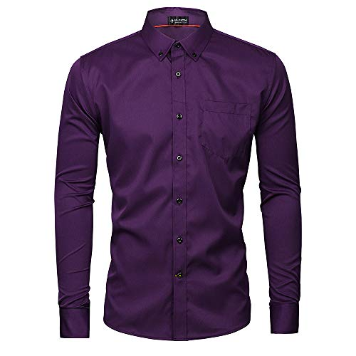 Musen Men Slim Fit Dress Shirt Casual Solid Elastic Button Down Long Sleeve Formal Shirt Purple L