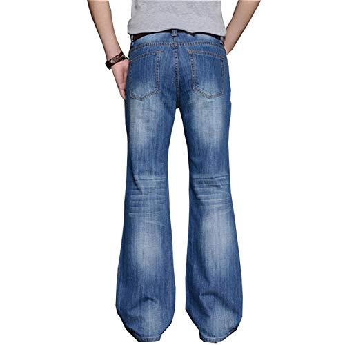 Bottom Masculin Bootcut Comradesn Blue Mens Big Designer Bell Classique Pantalon Fit Évasé Loose Jean Jeans Jambe Haute Denim Taille Évasée I4Uq74wx