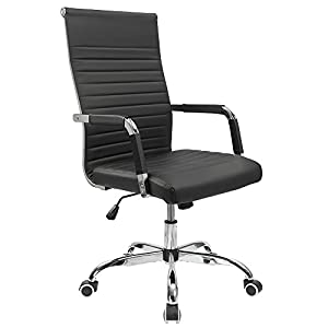 Furmax Ribbed Office Desk Chair Leather Executive Conference Task Chair Adjustable Swivel Chair with Arms