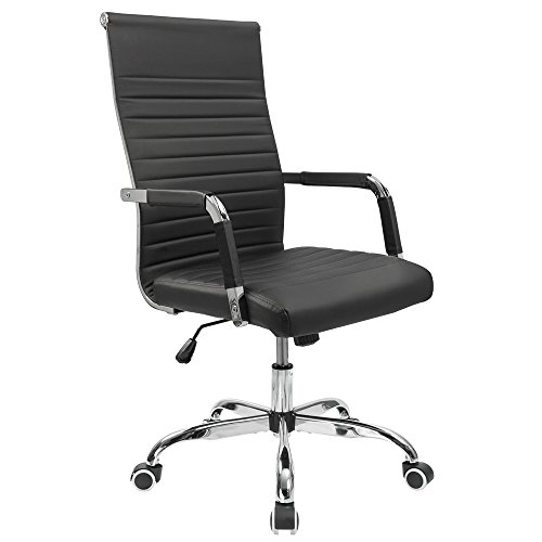 Leather Mid Back Chair - Furmax Ribbed Office Desk Chair Mid-Back Leather Executive Conference Task Chair Adjustable Swivel Chair with Arms (Black)