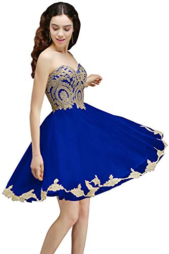 MisShow Short Prom Dress Bridesmaid Party Gowns Gold Appliques Royal Blue US6 ()
