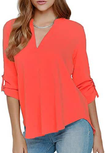 LOSRLY Women's Loose Solid Chiffon Blouses V Neck Cuffed Sleeve Shirts Tops