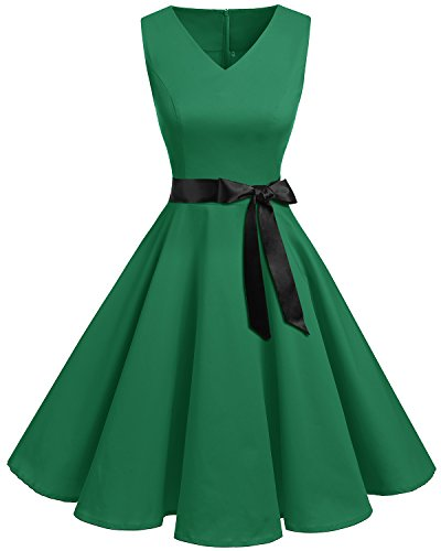 Bridesmay Women's Classy V-Neck Audrey Hepburn 1950s Vintage Rockabilly Swing Dress Green M ()