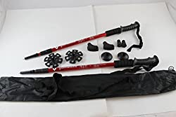 Two Trekking Walking Hiking Sticks Poles Alpenstock Anti-shock Snowshoe Red
