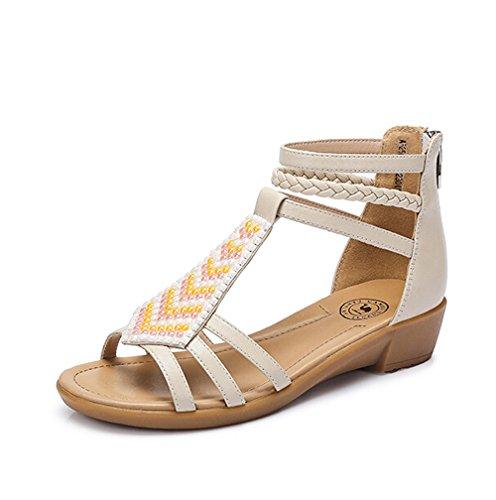 Sandali Con Tacco A Zeppa Decorati In Metallo Con Zeppa Color Cammello Taglia 35 Meu Beige