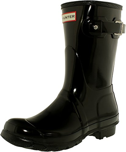 Hunter Women's Original Short Gloss Snow Boot, Black, 6 M US