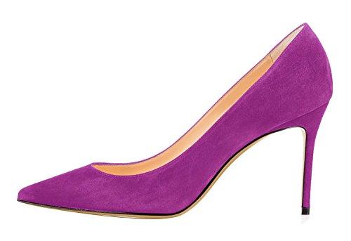 Guoar Kvinna Spetsig Tå Hög Klack Skor Stilett Komfort Mocka Pumpar Finskor Storlek 5-12 Oss Violett