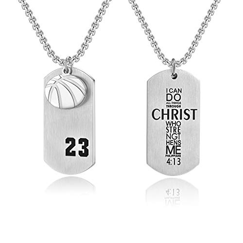 VI.SPORT Basketball Player Necklace Number 23 Dog Tag Pendant Christian Philippians 4:13 Religious I Can Do All Things (Silver)
