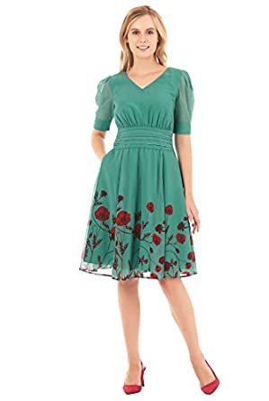 Pin Up Dresses | Pin Up Clothing eShakti Womens Floral print pleated georgette dress $72.95 AT vintagedancer.com